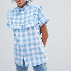 LAZY OAF Blue Gingham Check Shirt Top Size Small S